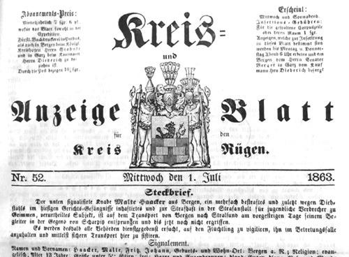 Bild 5. Suchanzeige im Titelblatt der Zeitung
