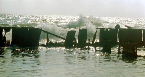 Bild 8. Eisenmole am Ufer. August 1978