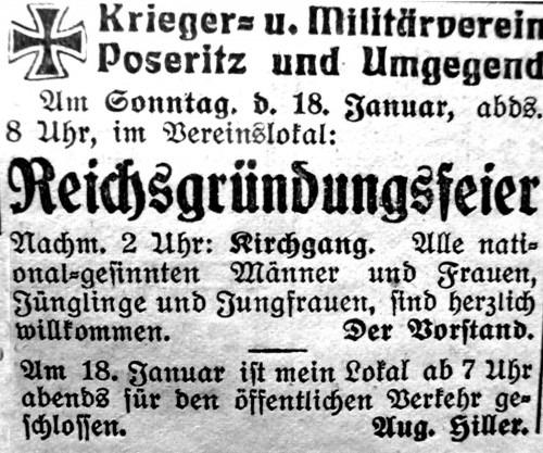 """Poseritz. Der """"Krieger- und Militärverein"""" aus Poseritz und Umgebung lud in der """"Rügenschen Zeitung"""" zum 18. 1. 1931 zu einer """"Reichsgründungsfeier"""" ein. Man bezog sich dabei auf das Jahr 1871"""