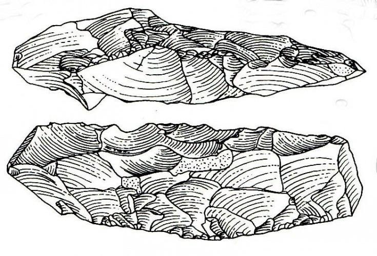 Feuersteingerät der Lietzow-Kultur vom Fundort Saiser-Buddelin. Kernbeil aus einem Rohling geschlagen (nach B. Gramsch 1989, Archäologie in der DDR, Teil 2, S. 355 Abbildung)
