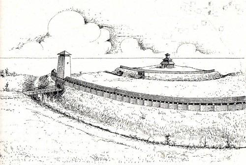 Arkona auf Rügen. Rekonstruktionsversuch einer zweiteiligen Burg des 9. und 10. Jahrhunderts mit einem Tempel. Entwurf A. Leube 1978
