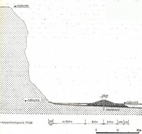 Regelprofil eines Steinwalles als Wellenbrecher, Entwurf A. Leube, 1978