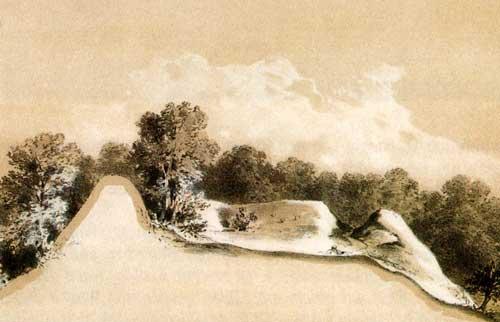Schnitt durch den Burgwall am Herthasee, Kreidezeichnung 1869