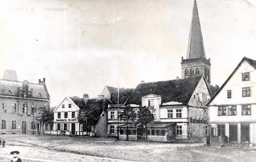 Bild 4. Bergen. Blick auf den Ratskeller mit dem 1891 erbauten Postamt Repro
