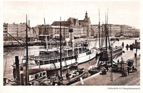 Bild-3.-Hafenbild-mit-Dampfer-Odin.-Im-Hintergrund-die-Baumbrücke-Wehrmann-1911
