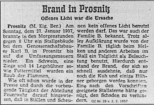 Abb. 4 Darstellung des Brandes in Prosnitz, bei dem ein unbeaufsichtigtes Talglicht im Stall der Verursacher war (nach Ostsee-Zeitung Nr. 28 v. 2. Februar 1957