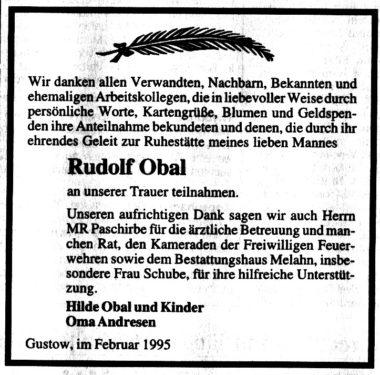 Abb. 3 Todesanzeige eines Veterans der Gustower Feuerwehr - Rudolf Orbal (Ostsee-Zeitung vom 25. Februar 1995)