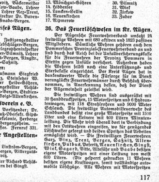 Abb1 Das Feuerlöschwesen im Kreis Rügen des Jahres 1934 (Rügenscher Heimatkalender, S. 117)