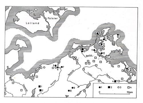 Abb. 10. Karte der archäologischen Fundplätze, auf denen Fundgut aus Skandinaviene