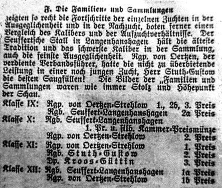 Abb. 3. Die Zuchterfolge des Gustower Gutsbesitzer Erich Stuth (Rügensche Zeitung Nr. 133 v. 31. Juli 1932).