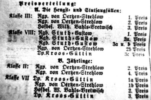 Abb. 4. Die Zuchterfolge des Gustower Gutsbesitzers Erich Stuth im Jahre 1932 (Rügensche Zeitung 1932 Nr. 132 v. 31. 7. 1932).