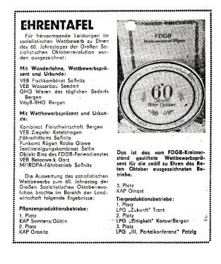 Abb. 1. Auszeichnung rügenscher Betriebe (nach Ostsee-Zeitung vom 5. bis 6. November 1977).