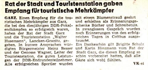 Abb. 3. Garz. Erfolg der touristischen Mehrkämpfer - Ostsee-Zeitung v. 2. 12. 1976