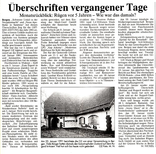 Abb. 5. Rückblicke (Ostsee-Zeitung v. 27. 1. 1996, S. 13)