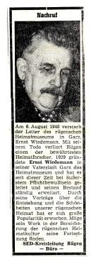 Abb. 6. Ernst Wiedemann verstarb 1958