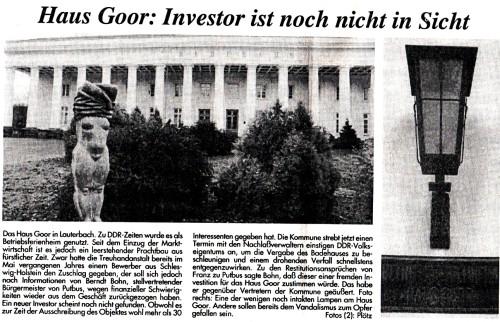 Abb. 7. Haus Goor im Jahre 1993 (Ostsee-Zeitung v. 12. 2. 1993, 11).