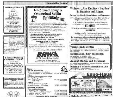 Abb. 9. Hausverkäufe und Hauskäufe (nach Ostsee-Zeitung v. 9. 12. 1995, 16)