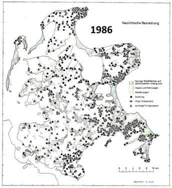 Abb. 1 Rügen 1986. Verbreitungkarte der jungsteinzeitlichen Fundorte.
